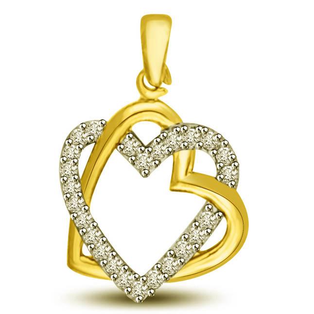 Love Me True -0.25 cts Heart Shape Two Tone Diamond Pendants