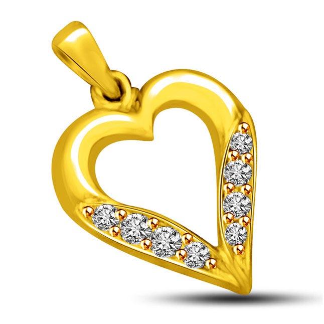 Love Never Dies -0.04 cts Heart Shape Diamond Pendants