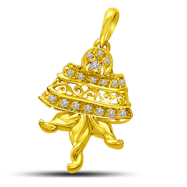 Love on Jupiter Diamond & Yellow Gold Bell Shaped Pendants. -Designer Pendants