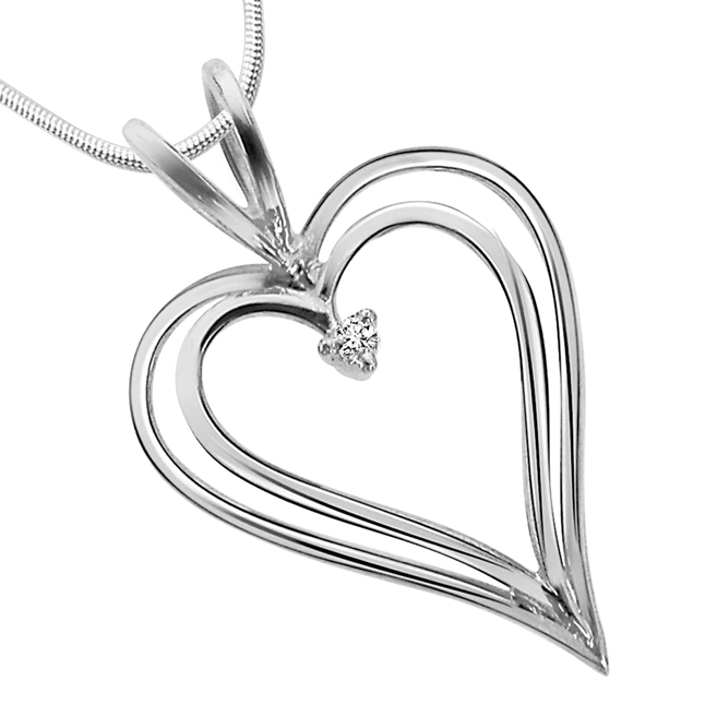 "Love Pendants -Real Diamond & Sterling Silver Pendants with 18"" Chain"