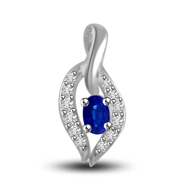 Love Petal:Oval Sapphire Surrounded By White Diamond In 14kt Gold Pendants