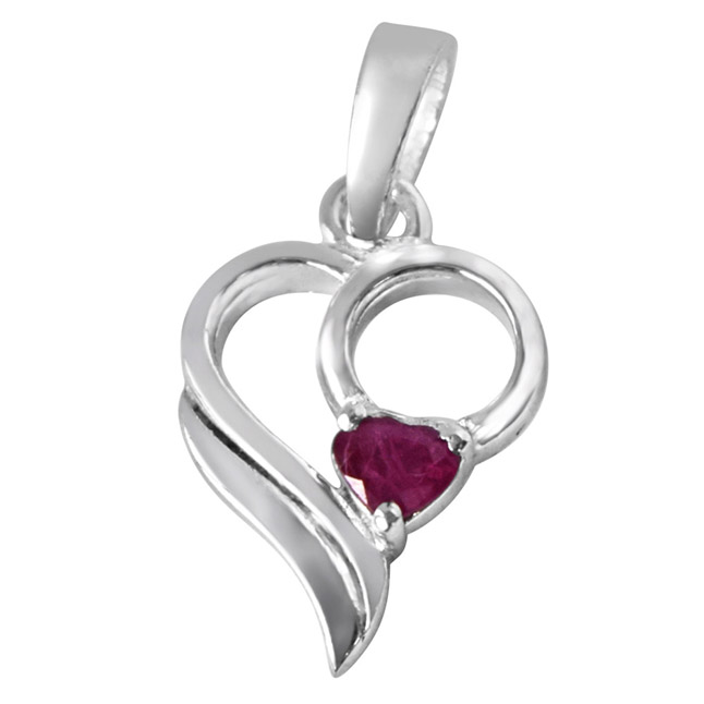 "Love Treasure Red Heart Ruby & Sterling Silver Pendants with 18"" Chain"