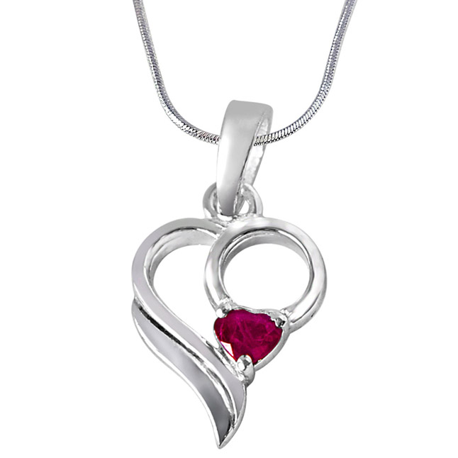 Love Treasure Red Heart Ruby & Sterling Silver Pendant with 18 IN Chain