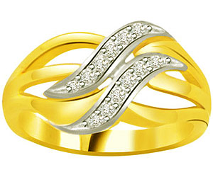 Love Wave -0.18 cts Two Tone Gold Diamond rings