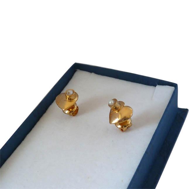 Love You Twice -Pearl & Silver Gold Plated Earrings -Heart Shape Earrings