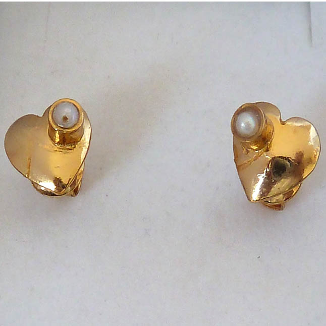 Love You Twice -Pearl & Silver Gold Plated Earrings -Heart Shape Earrings