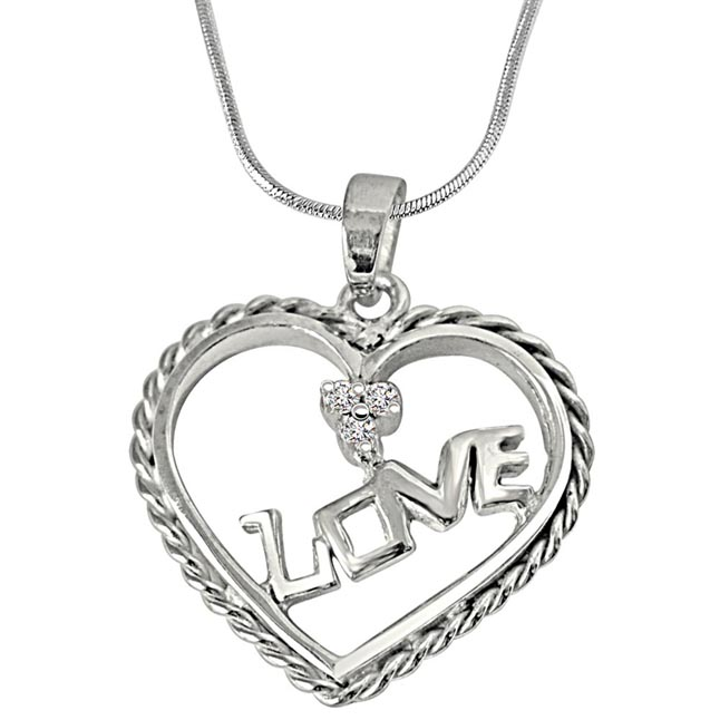 Love Your Heart - Real Diamond & Sterling Silver Pendant with 18 IN Chain