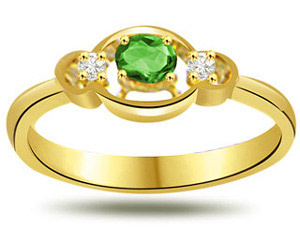 Loved One Diamond & Emerald rings in 18kt Gold -Diamond & Emerald