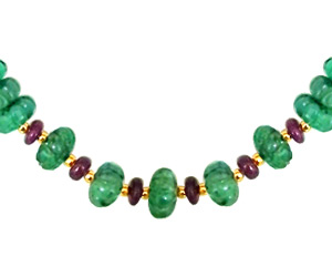 Lovers Delight -Real Emerald & Ruby Beads Set -Single Line