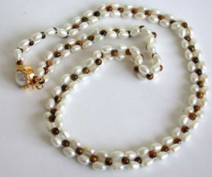 luminesce - Real Pearl & Tiger's Eye Beads Necklace for Women (SN41)