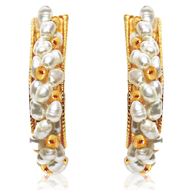 Lush n Luminous - Real Freshwater Pearls & Gold Plated Bali Earrings for Women (SE9)