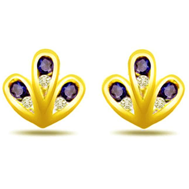 Madly in love Real Diamond & Sapphire Earrings -Designer Earrings