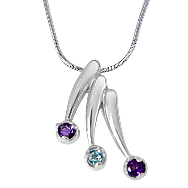 Magic of Markers Purple Amethyst, Blue Topaz & 925 Sterling Silver Pendant with 18 IN Chain