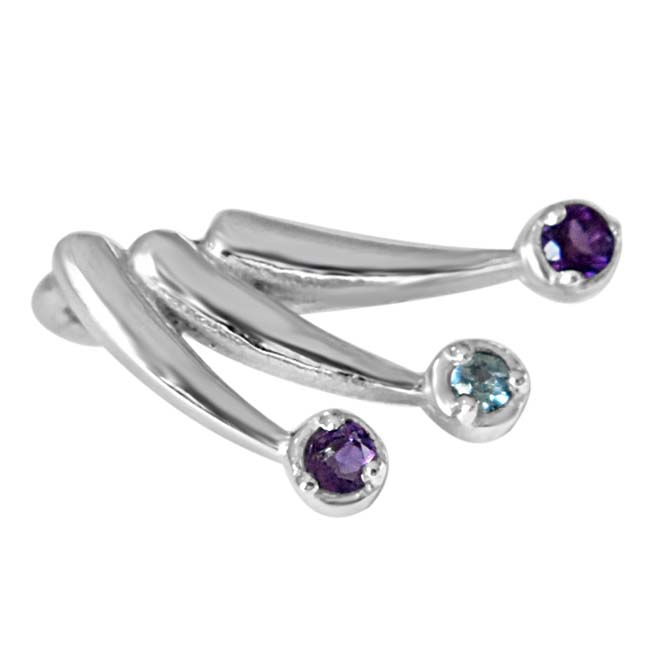 "Magic of Markers Purple Amethyst, Blue Topaz & 925 Sterling Silver Pendants with 18"" Chain"