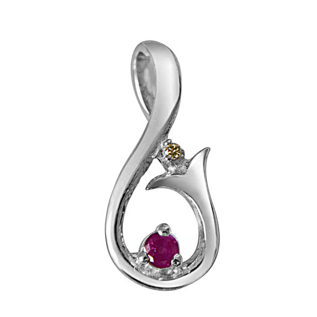 Magic Carpet Ride Real Diamond, Ruby & Sterling Silver Pendant with 18 IN Chain