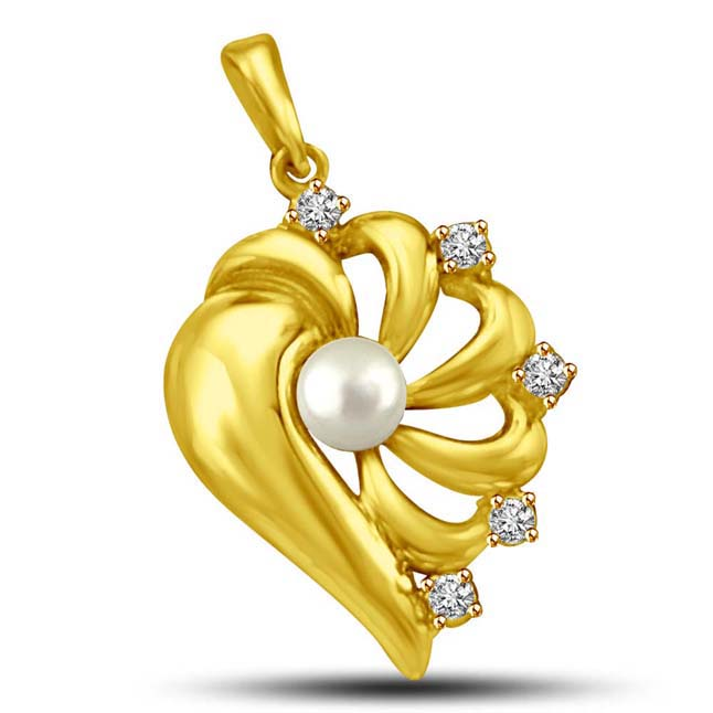 Magic Strings White Pearl & Diamond Stars Heart Gold Pendants -Designer Pendants