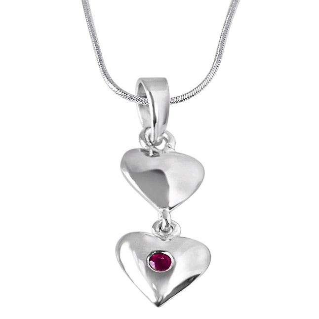 "Magical Moments Red Ruby & Sterling Silver Pendants with 18"" Chain"