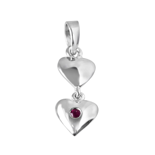 Magical Moments Red Ruby & Sterling Silver Pendant with 18 IN Chain