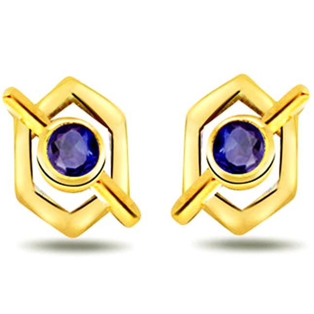 Magical Stud Round Sapphire Earrings -Dia & Gemstone