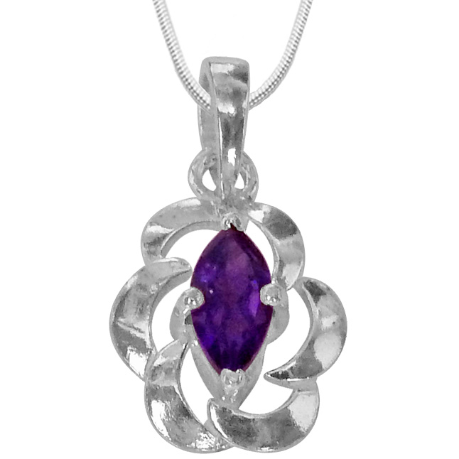 Marquise Shaped Purple Amethyst & Sterling Silver Pendants with Chain
