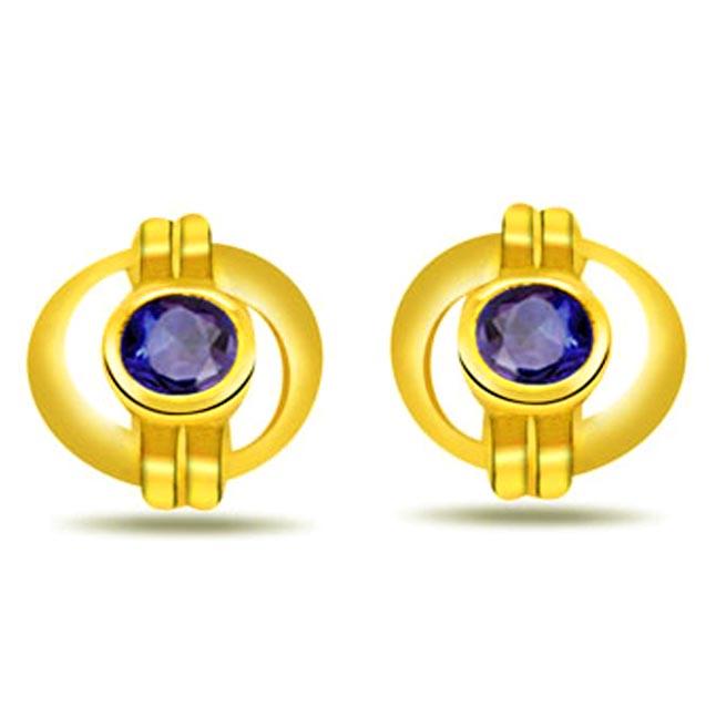 Marvellous Studs 0.30ct Fine Round Sapphire Earrings -Dia & Gemstone