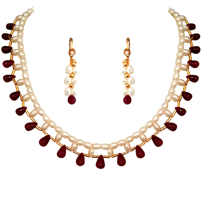 Marvelous Single Line Rice Pearl Ruby Necklace -Single Line