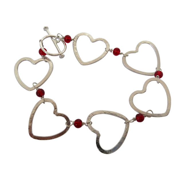Modern & Stylish Silver Plated Heart Shape with Red Beads Bracelet - Silver Bracelets