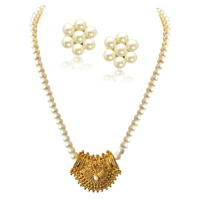 Pearl Jewelry Set Custom Necklaces Drop Earrings Set Surat Diamond
