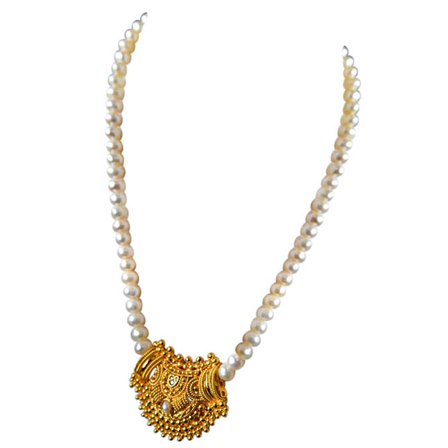Mohini - Gold Plated Pendant & Single Line Real Pearl Necklace Earrings Set for Women (SN723)