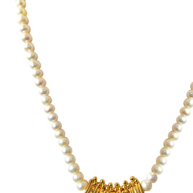 Mohini Gold Plated Pendants & Single Line Real Pearl Necklace -Pearl Set