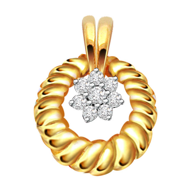 Moon Beam Real Diamond 18kt Gold Flower Shaped Pendants