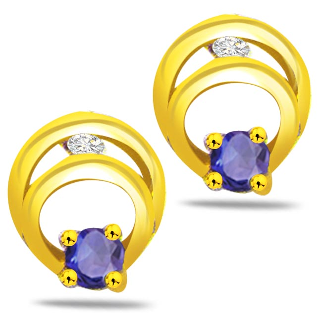 Moonlight Magic 0.06ct Classic Diamond & Sapphire Gold Earrings -Dia & Gemstone