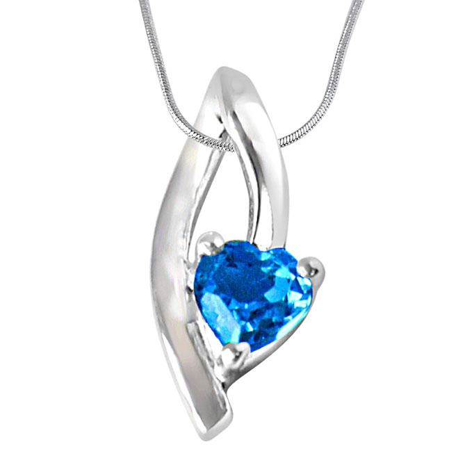 "Moonshine Heart Shaped Blue Topaz Set in Sterling Silver Pendants with 18"" Chain"