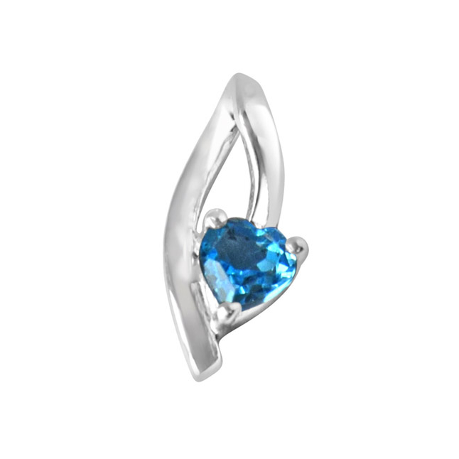 Moonshine Heart Shaped Blue Topaz Set in 925 Sterling Silver Pendant with 18 IN Chain (SDP299)