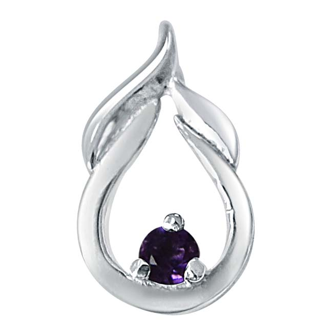 Motel Moments Amethyst & 925 Sterling Silver Pendant with 18 IN Chain