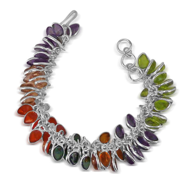Multi colored stone & Silver Plated Bracelet -JK24 -Bangles -Bracelets
