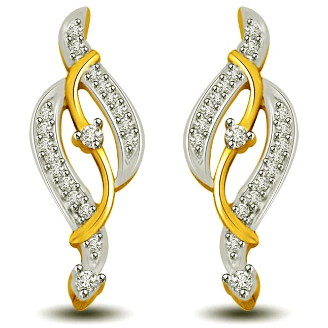 Music of Love Two Tone Gold & Diamond Earrings for Her