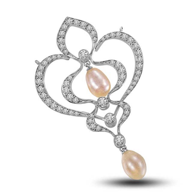 Musical Pearl and Diamond White Gold Pendant