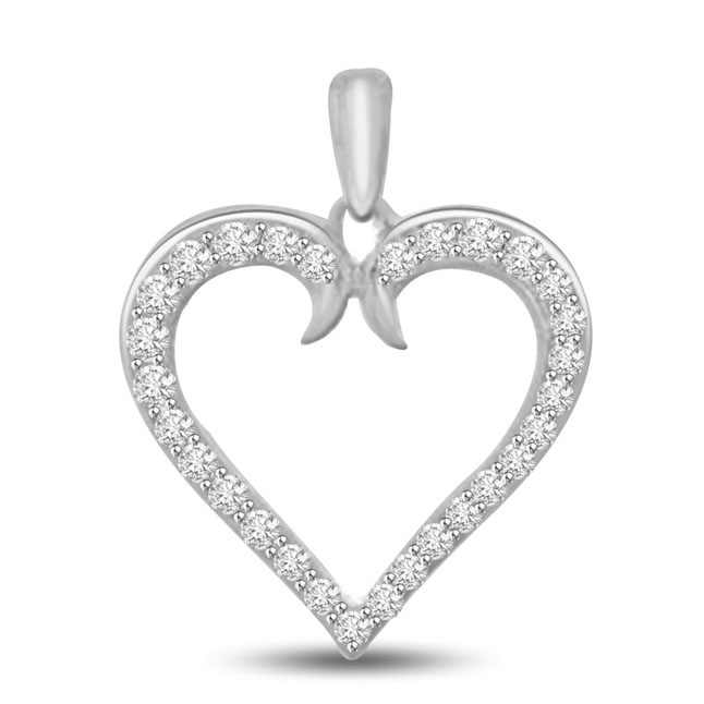 My Heart is Beating White Gold Diamond Heart Pendants