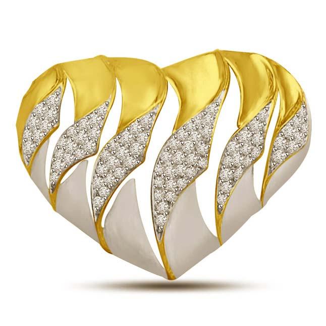 My Heart is Beating Diamond & Gold Beautiful Pendants