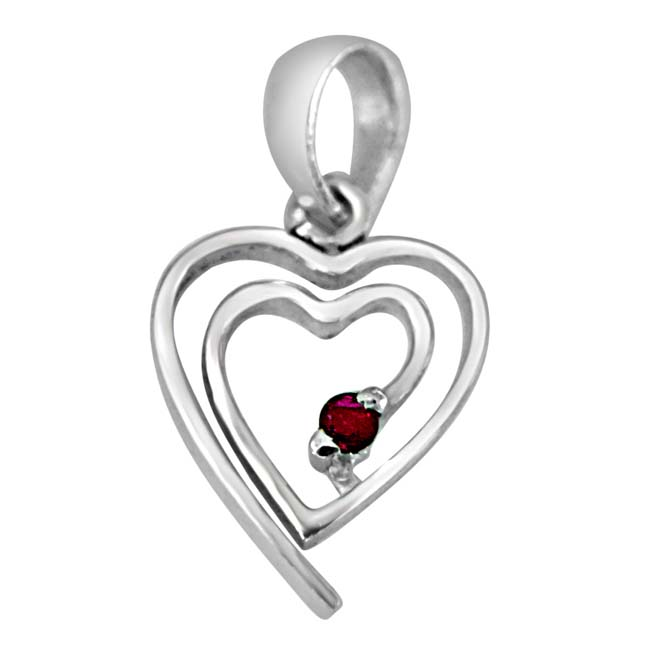 My Heart is in Your Heart Real Red Ruby & 925 Sterling Silver Pendant with 18 IN Chain
