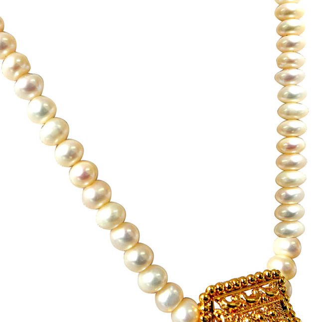 My Sunshine Gold Plated Pendants & Single Line Real Pearl Necklace -Pearl Set