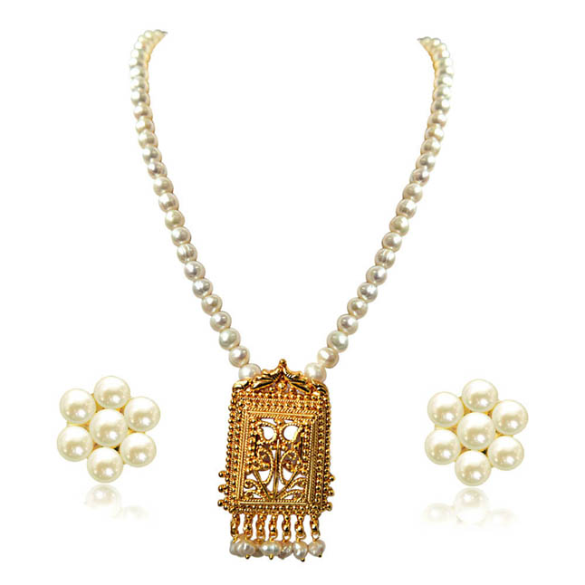 My Special Memories Gold Plated Pendants & Single Line Real Pearl Necklace -Pearl Set