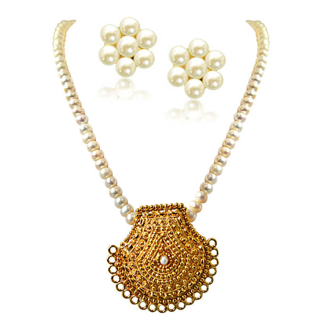 My Sunshine Gold Plated Pendant & Single Line Real Pearl Necklace with Kuda Jodi Earrings for Women (SN719)
