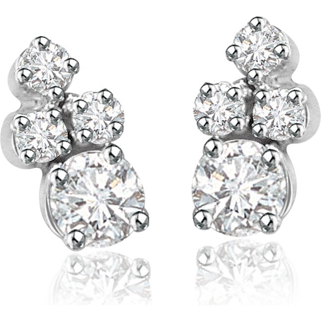 Mysterious Girl 0.20cts Real Diamond Earrings -White Rhodium