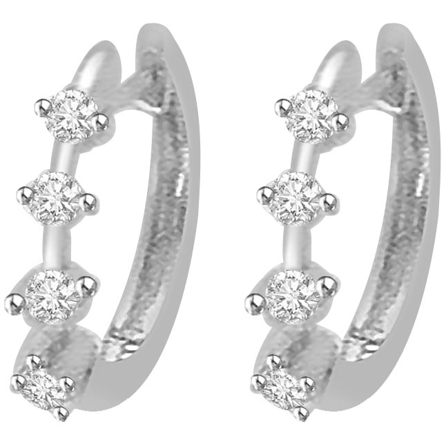 Natural Promise 0.24 ct Diamond White Gold Earrings -Balis & Hoops