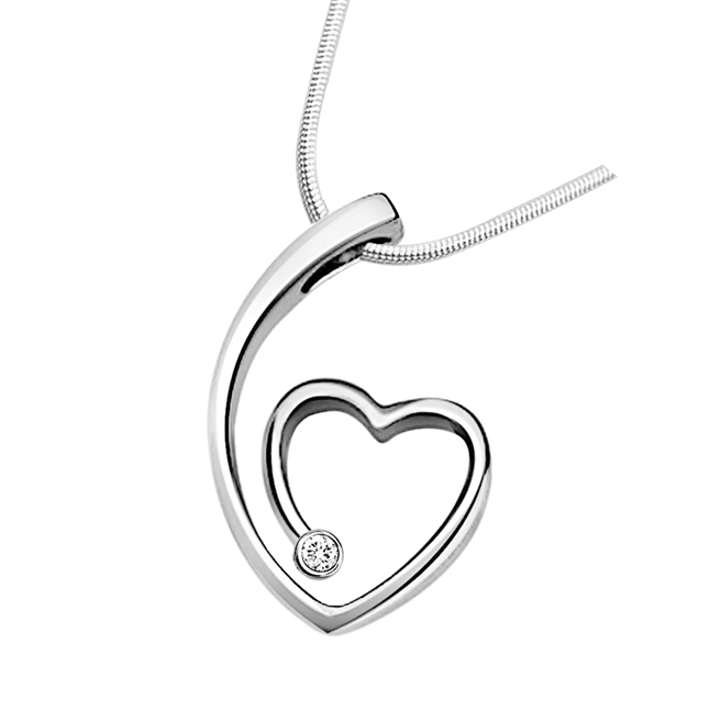 "Nature's Heart -Real Diamond & Sterling Silver Pendants with 18"" Chain"