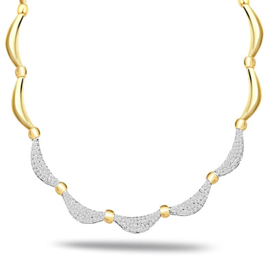 Neck Glamour 1.12ct VS Diamond Necklace -2 Tone Necklace Pendants + Chain