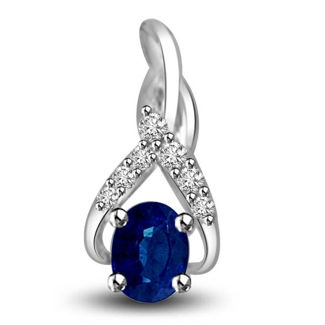 Ocean Precious Blue Treasure 0.28ct Oval Blue Sapphire & Diamond Pendants For Your Lovely Lady