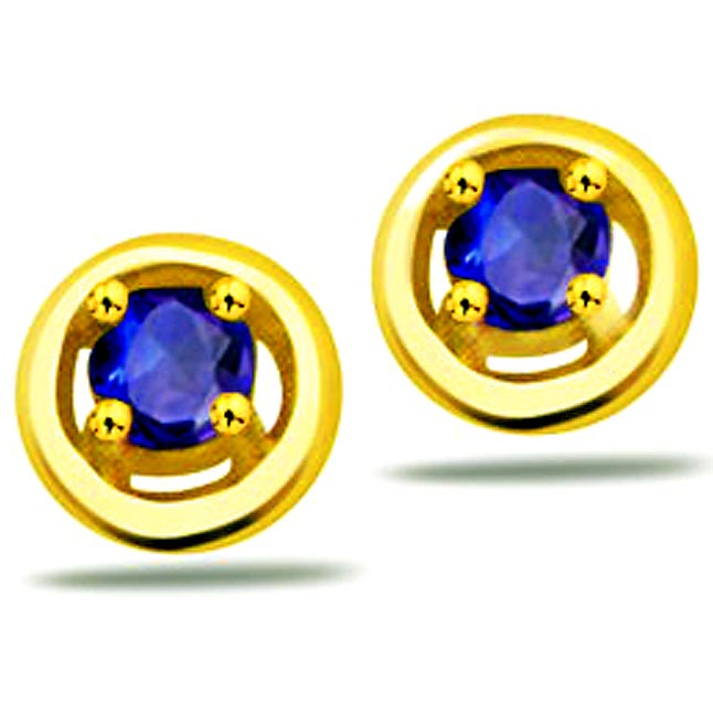Ocean Star Classic Round Sapphire Gold Earrings -Dia & Gemstone
